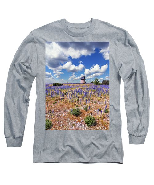 Purple Flower Countryside Long Sleeve T-Shirt