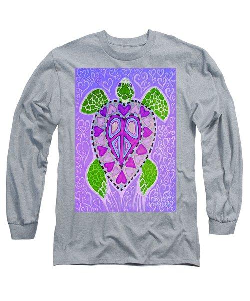 Purple Heart Turtle Long Sleeve T-Shirt by Nick Gustafson