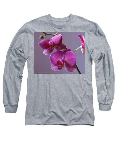 Purple Orchid Long Sleeve T-Shirt by Kathy Eickenberg
