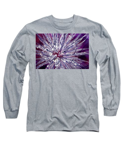 Purple Tentacles In Abstract Flower Shot Long Sleeve T-Shirt