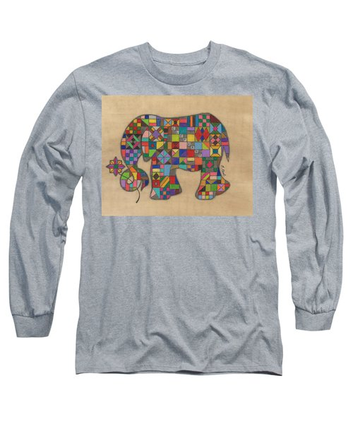 Quilted Elephant Long Sleeve T-Shirt