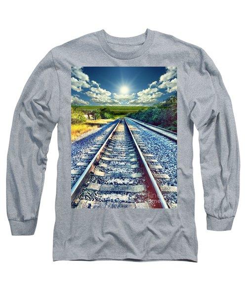 Railroad To Heaven Long Sleeve T-Shirt by Carlos Avila