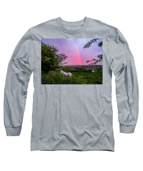 Rainbow At Sunset In County Clare Long Sleeve T-Shirt