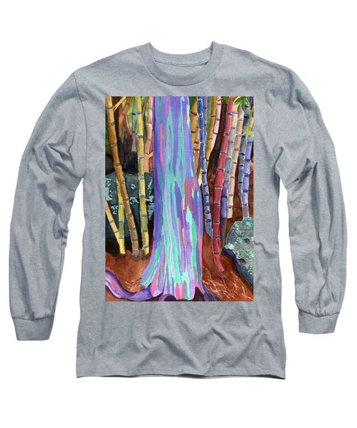 Long Sleeve T-Shirt featuring the painting Rainbow Tree by Lynne Reichhart