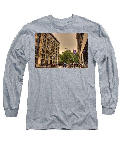 Raining At Nyu Long Sleeve T-Shirt by David Bearden