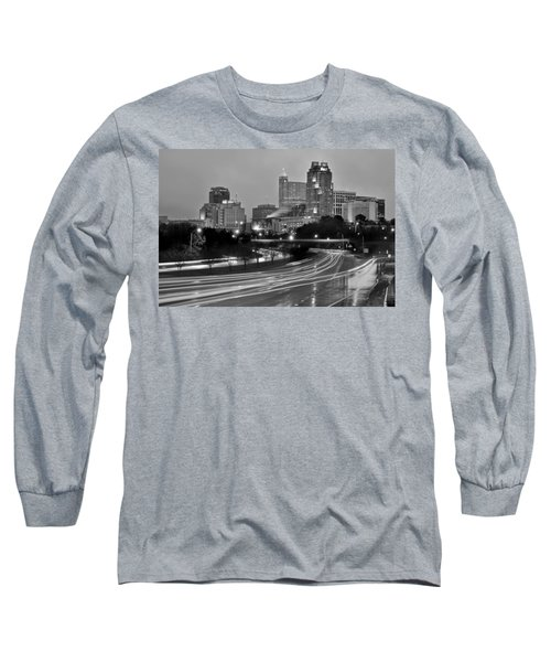 Long Sleeve T-Shirt featuring the photograph Raleigh Skyline At Dusk Evening Black And White Bw Evening Panorama North Carolina Nc by Jon Holiday