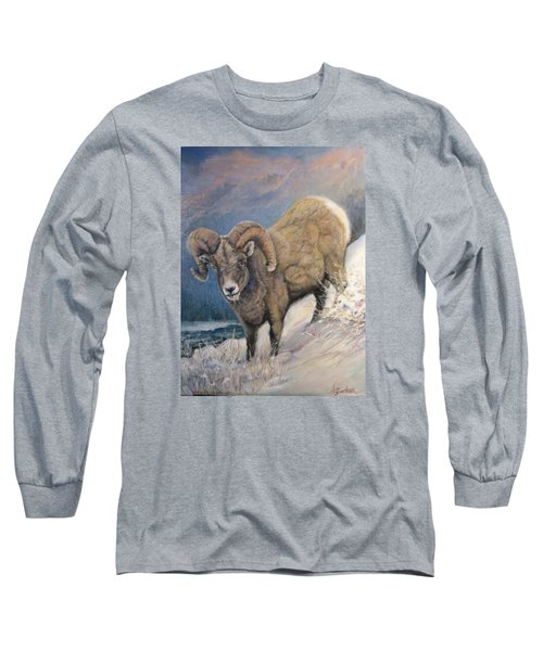 Long Sleeve T-Shirt featuring the painting Ram In The Snow by Donna Tucker