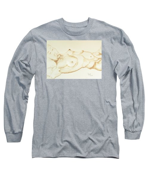Long Sleeve T-Shirt featuring the drawing Reclining Nude In Walnut Ink by Rand Swift