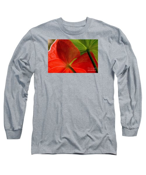 Red And Green Anthurium Long Sleeve T-Shirt by Ranjini Kandasamy