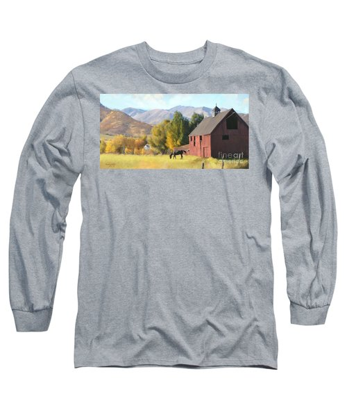 Long Sleeve T-Shirt featuring the painting Red Barn by Rob Corsetti