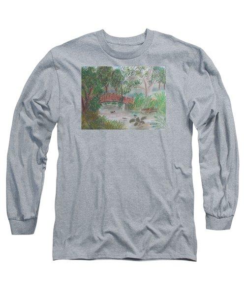 Red Bridge At Wollongong Botanical Gardens Long Sleeve T-Shirt by Pamela  Meredith
