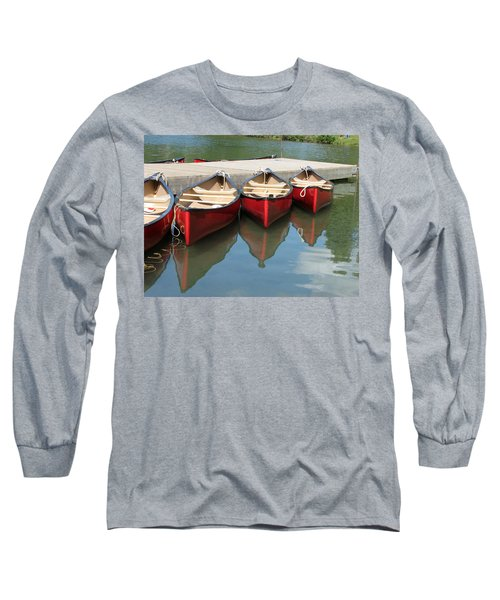 Long Sleeve T-Shirt featuring the photograph Red Canoes by Marcia Socolik