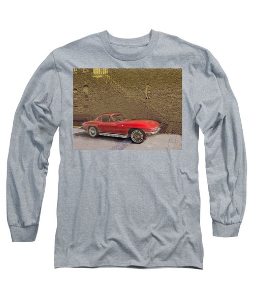 Red Corvette Long Sleeve T-Shirt by Steve Karol