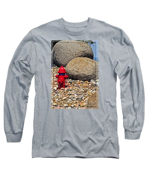 Long Sleeve T-Shirt featuring the photograph Red Fire Hydrant On Rocky Hillside by Ella Kaye Dickey