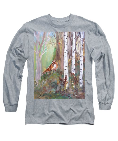 Red Fox And Cardinals Long Sleeve T-Shirt