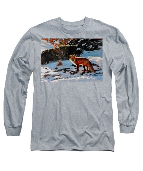 Long Sleeve T-Shirt featuring the photograph Red Fox In Winter by Diane Alexander