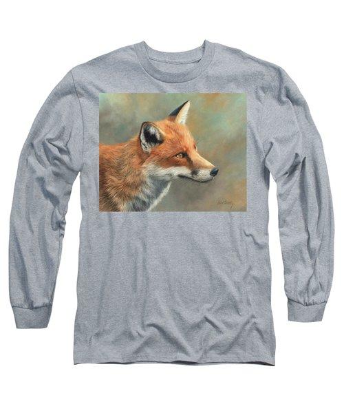 Red Fox Portrait Long Sleeve T-Shirt by David Stribbling