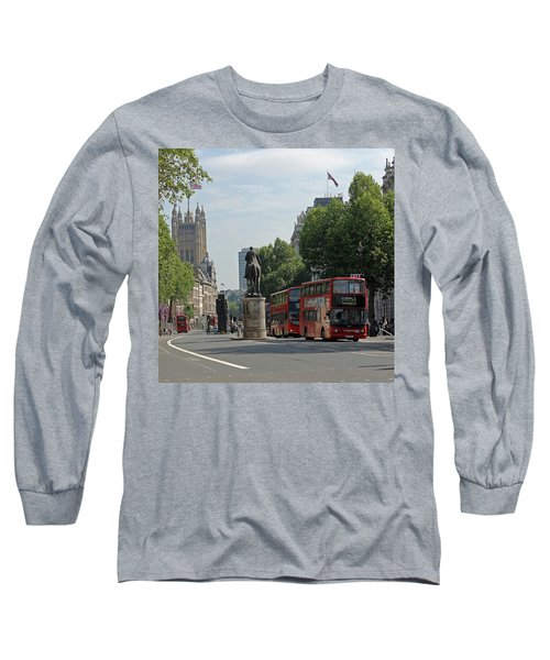 Red London Bus In Whitehall Long Sleeve T-Shirt