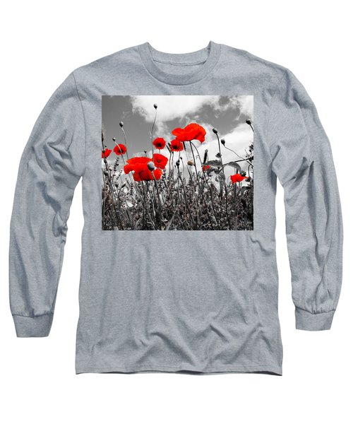 Red Poppies On Black And White Background Long Sleeve T-Shirt