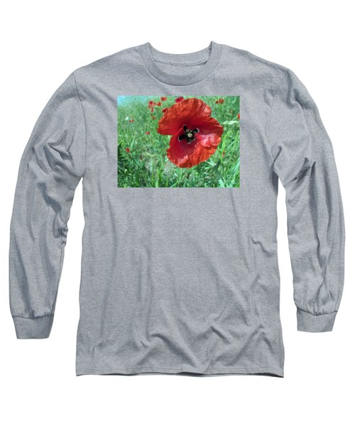 Long Sleeve T-Shirt featuring the photograph Red Poppy by Vesna Martinjak