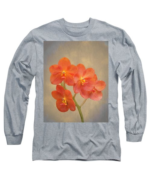 Red Scarlet Orchid On Grunge Long Sleeve T-Shirt