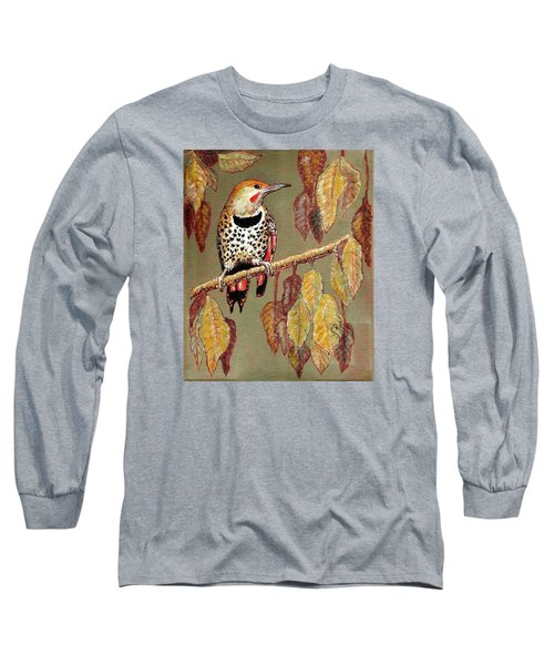 Red Shafted Flicker Long Sleeve T-Shirt by VLee Watson