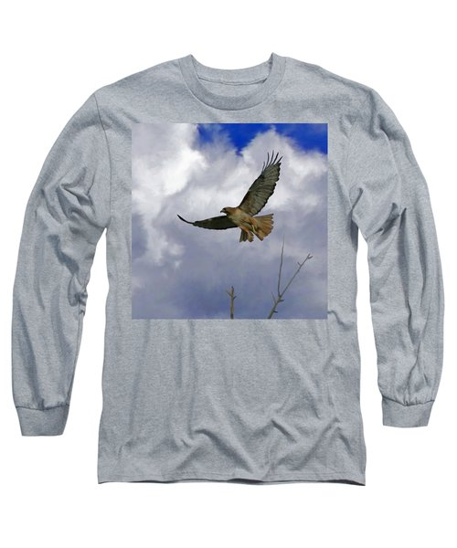 Red Tail Hawk Digital Freehand Painting 1 Long Sleeve T-Shirt