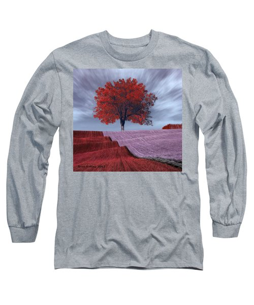 Long Sleeve T-Shirt featuring the painting Red Tree In A Field by Bruce Nutting