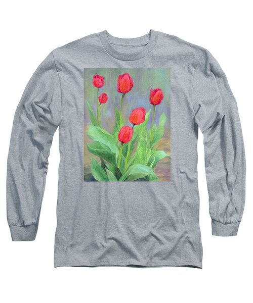 Red Tulips Colorful Painting Of Flowers By K. Joann Russell Long Sleeve T-Shirt by Elizabeth Sawyer