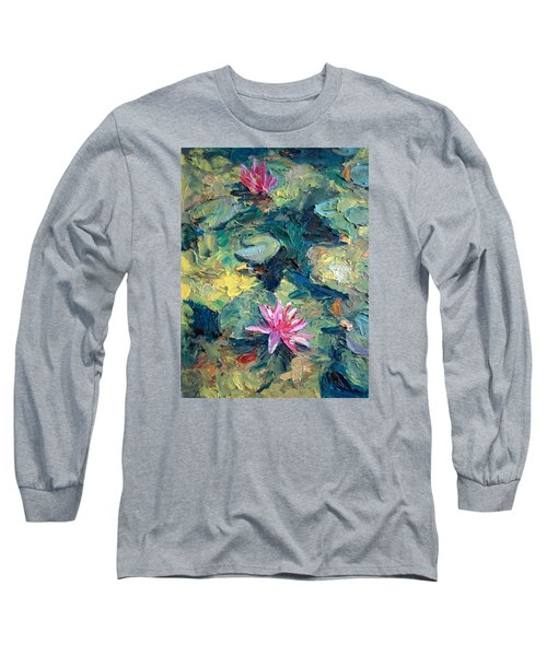 Long Sleeve T-Shirt featuring the painting Red Waterlily  by Jieming Wang