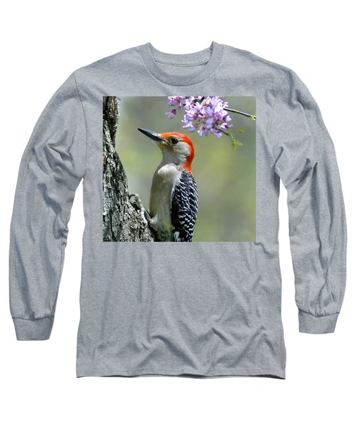 Redbud With Woodpecker Long Sleeve T-Shirt
