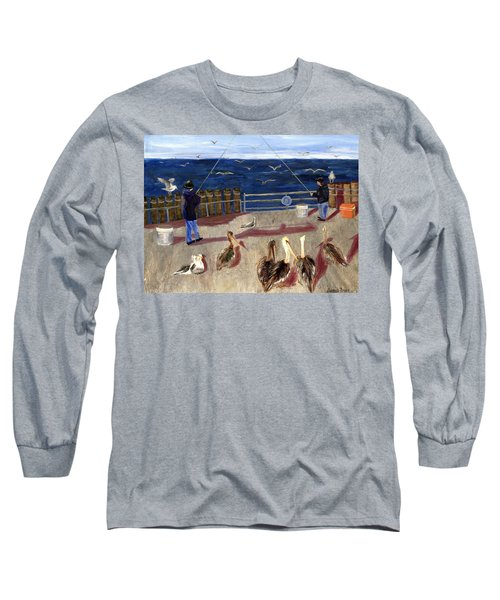 Redondo Beach Pelicans Long Sleeve T-Shirt by Jamie Frier