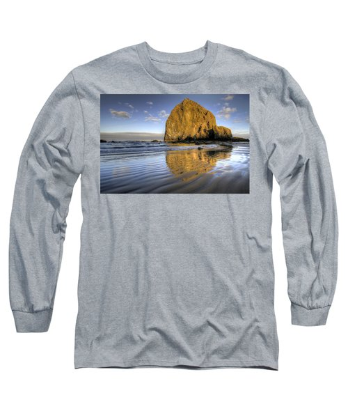 Reflection Of Haystack Rock At Cannon Beach 2 Long Sleeve T-Shirt