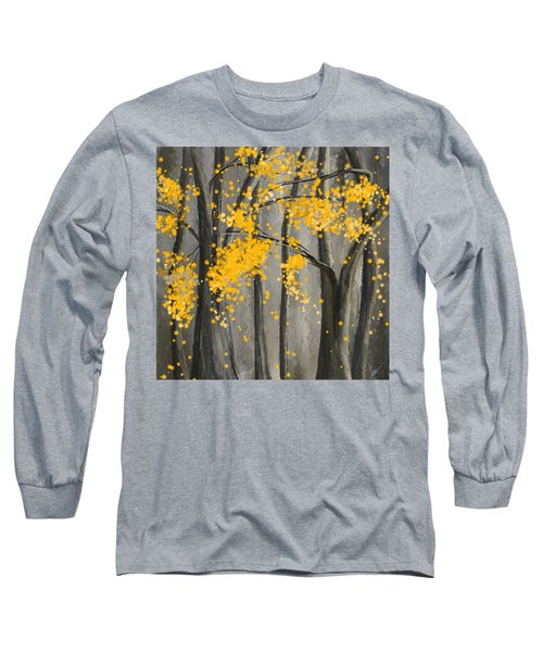 Rejuvenating Elements- Yellow And Gray Art Long Sleeve T-Shirt