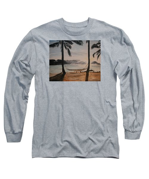 Long Sleeve T-Shirt featuring the painting Relaxing At The Beach by Ian Donley