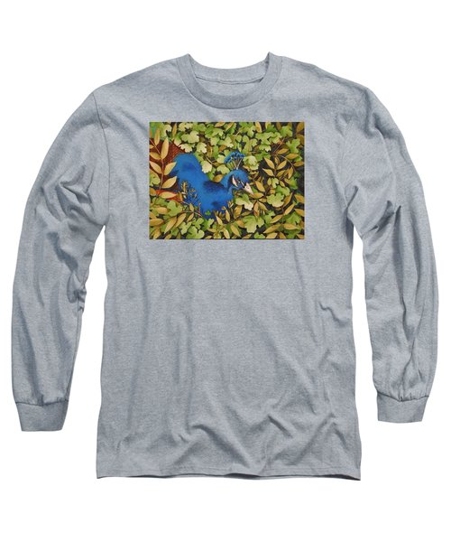 Resting Peacock Long Sleeve T-Shirt by Katherine Young-Beck