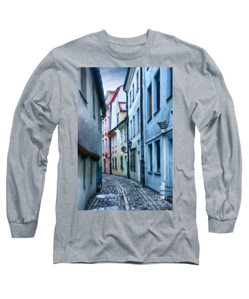 Riga Narrow Street Painting Long Sleeve T-Shirt by Antony McAulay