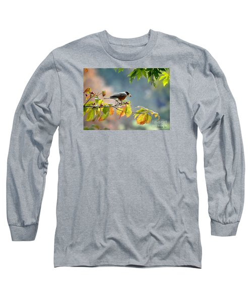 Long Sleeve T-Shirt featuring the photograph Robin With Red Berry by Nava Thompson
