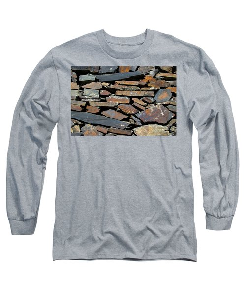 Long Sleeve T-Shirt featuring the photograph Rock Wall Of Slate by Bill Gabbert