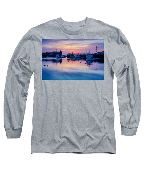 Long Sleeve T-Shirt featuring the photograph Rockport Harbor Sunrise Over Motif #1 by Jeff Folger