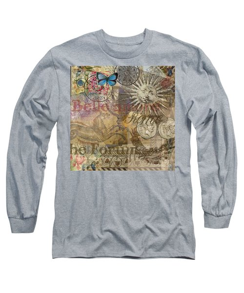 Rome Vintage Italy Travel Collage  Long Sleeve T-Shirt