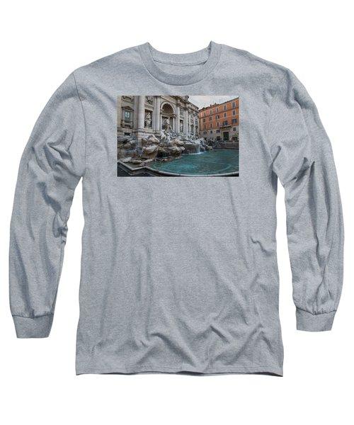 Rome's Fabulous Fountains - Trevi Fountain - No Tourists Long Sleeve T-Shirt by Georgia Mizuleva