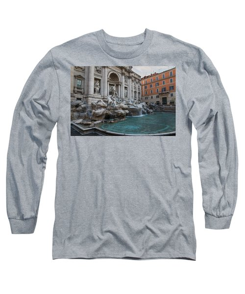 Rome's Fabulous Fountains - Trevi Fountain No Tourists Long Sleeve T-Shirt