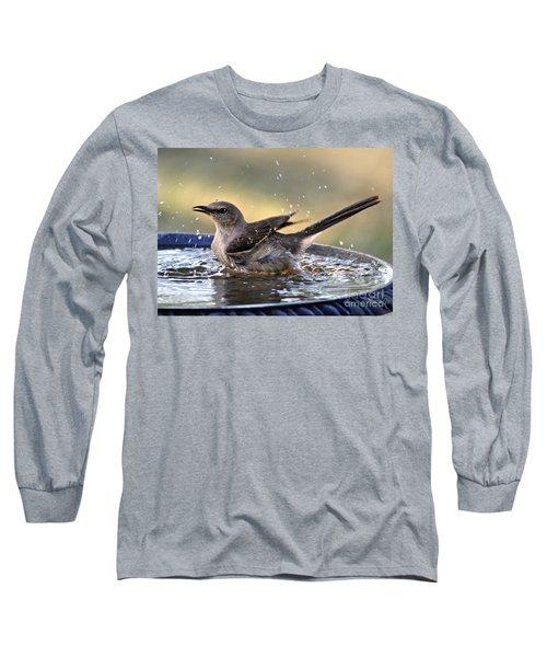 Long Sleeve T-Shirt featuring the photograph Rub-a-dub-dub Mockingbird by Nava Thompson
