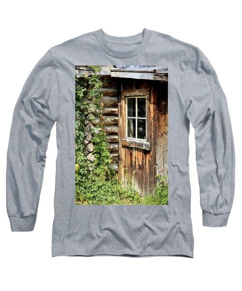 Rustic Cabin Window Long Sleeve T-Shirt by Athena Mckinzie