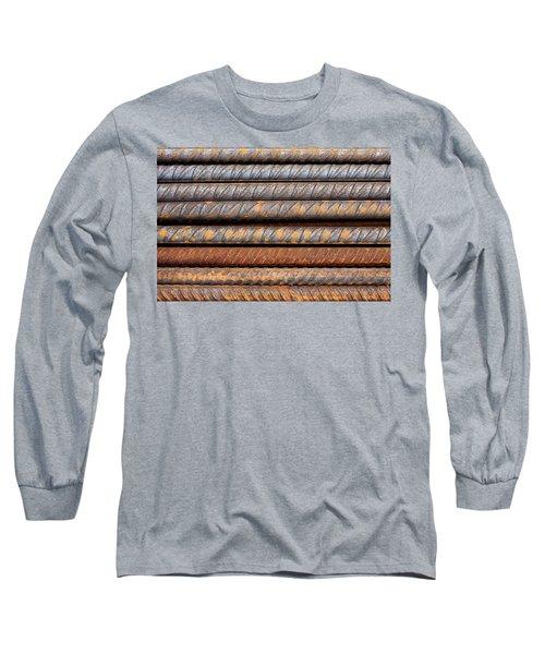 Rusty Rebar Rods Metallic Pattern Long Sleeve T-Shirt