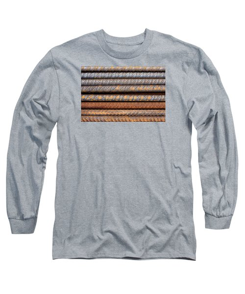 Rusty Rebar Rods Metallic Pattern Long Sleeve T-Shirt