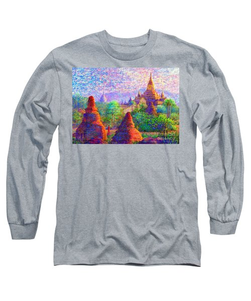 Long Sleeve T-Shirt featuring the painting Bagan, Burma, Sacred Spires by Jane Small