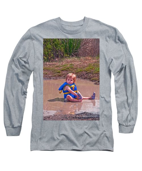 Safety Is Important - Toddler In Mudpuddle Art Prints Long Sleeve T-Shirt by Valerie Garner