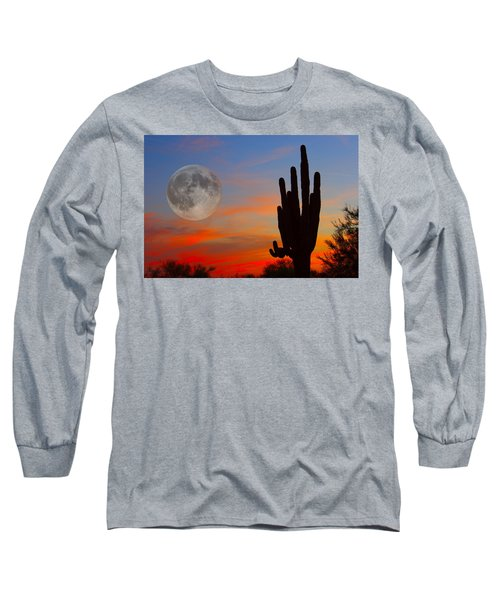 Saguaro Full Moon Sunset Long Sleeve T-Shirt